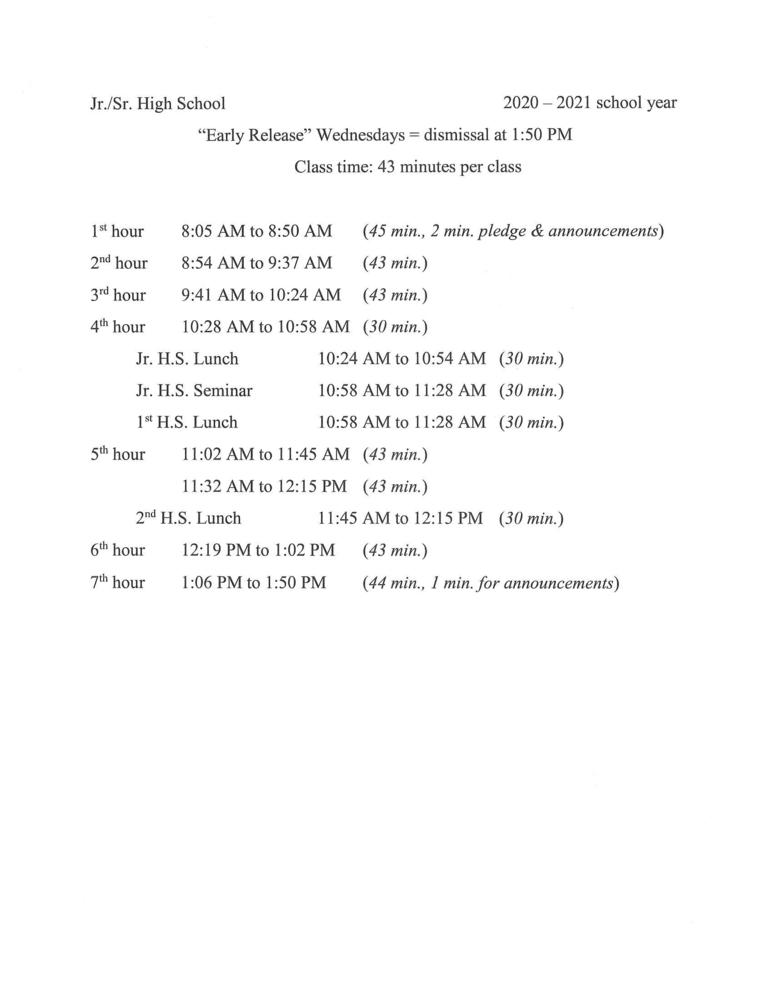 Jr/Sr High Early Release Wednesdsays Schedule