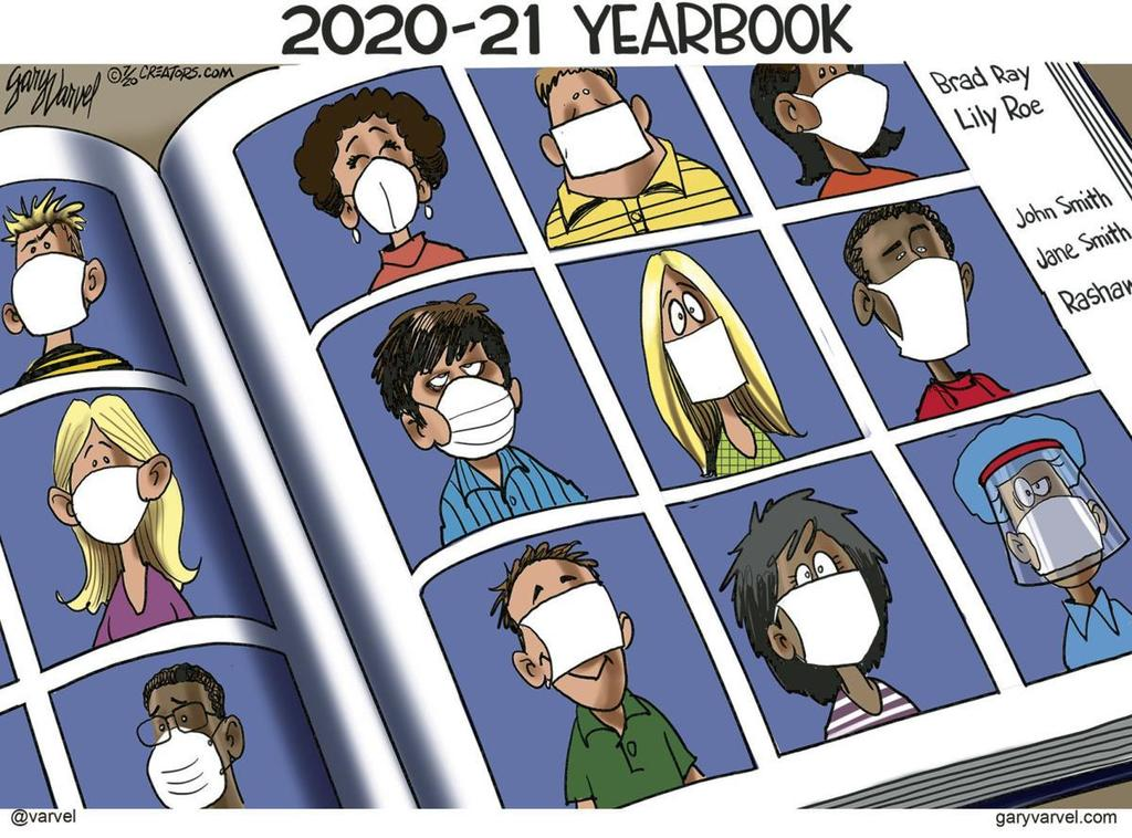 Yearbook pics with masks cartoon