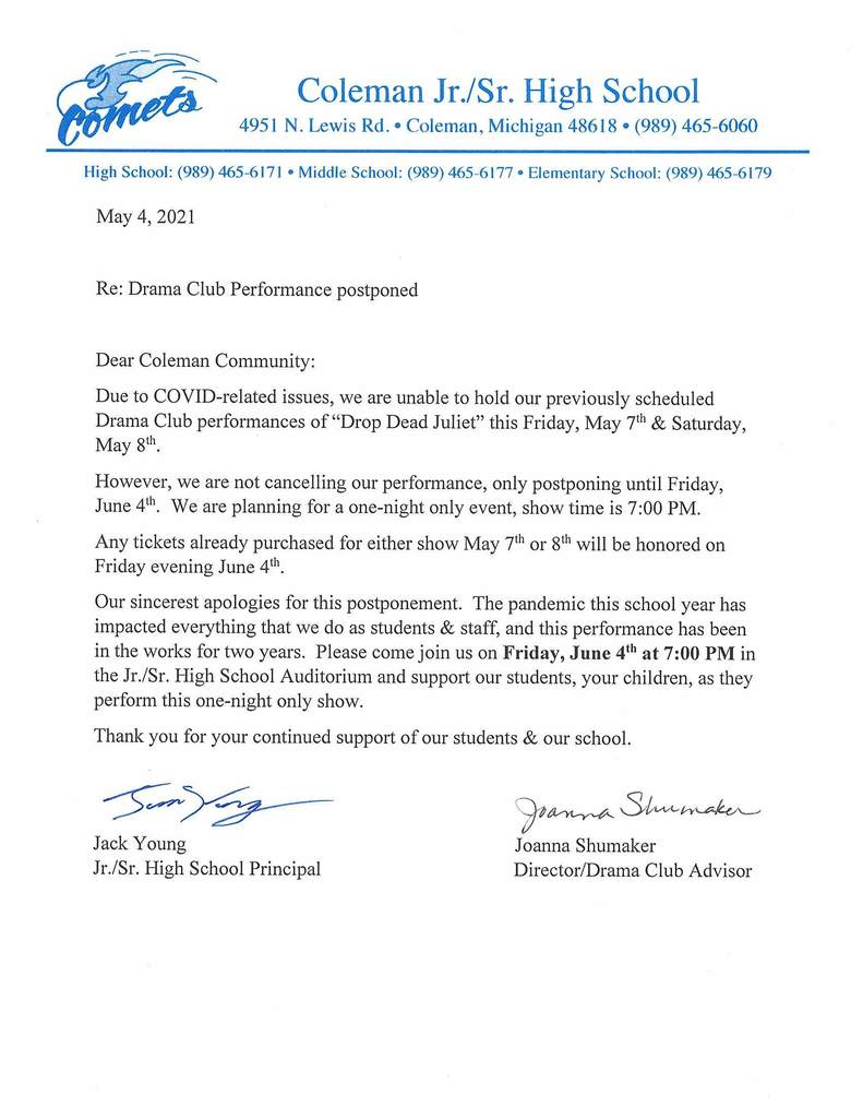 Letter on postponed play
