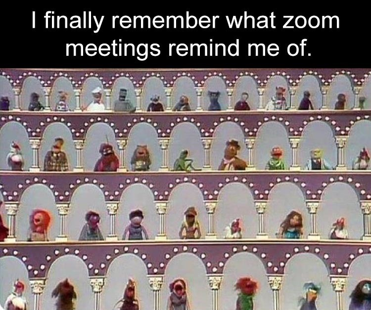 What Zoom meetings remind me of.